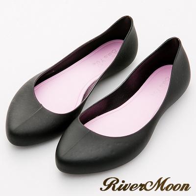 River&Moon雨鞋-晴雨二穿素面Q軟防水微尖頭低跟鞋-黑系
