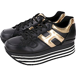 HOGAN Maxi H222 黑色厚底繫帶休閒鞋