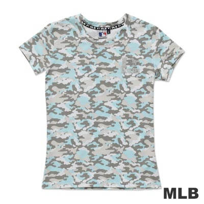 MLB-紐約洋基隊滿版迷彩圓領愛心燙銀印花T恤-淺藍(女)