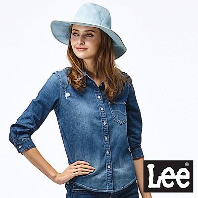Lee 小刷破牛仔長袖襯衫-女款-藍