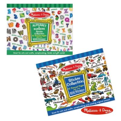 美國瑪莉莎 Melissa & Doug 貼紙收藏簿 - 字母數字 + 藍色男生主題
