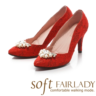 Fair Lady Soft芯太軟 立體鑽飾點綴典雅尖頭高跟鞋 蕾絲紅