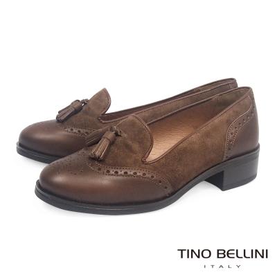 Tino-Bellini-西班牙真皮雕花流蘇低跟樂福鞋-深咖