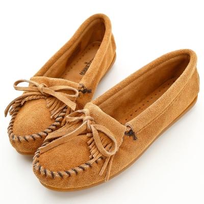 MINNETONKA 沙棕色麂皮素面莫卡辛 女鞋 (展示品)