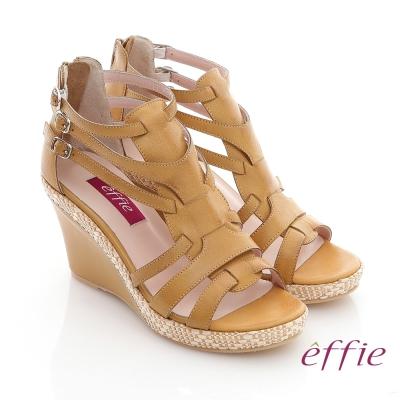 effie 輕音躍 蠟感真皮編織楔型涼鞋 正黃