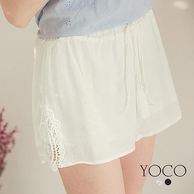 東京著衣-yoco 波西米亞流蘇拼接刺繡蕾絲短褲-S.M.L(共二色)