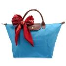Longchamp 折疊中型水餃包(短提把/蔚藍色)-加贈帕巾