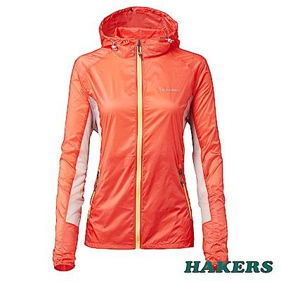 【HAKERS 哈克士】女-超輕量防風外套(珊瑚橘)