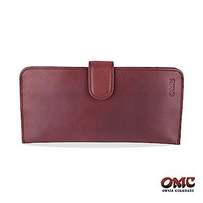 OMC 原皮系列-植鞣牛皮舌片壓扣14卡透明窗雙隔層零錢長夾-紫色