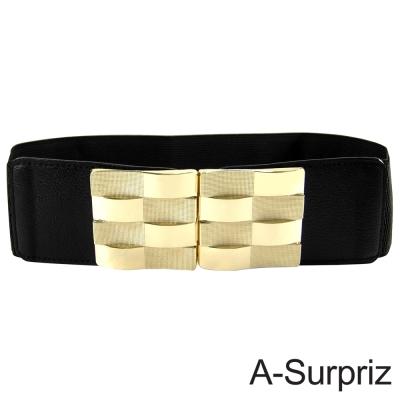 A-Surpriz 摩登時髦棋格金屬釦環彈性腰帶(奢華黑)