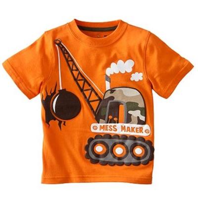歐美風格設計 小童男童短棉T居家外出 重機具 橘色