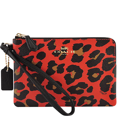 COACH-紅色豹紋圖樣PVC手拿包