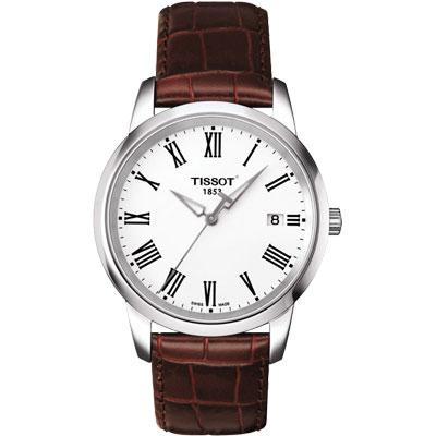 TISSOT CLASSIC DREAM 羅馬皮帶腕錶-銀/38mm