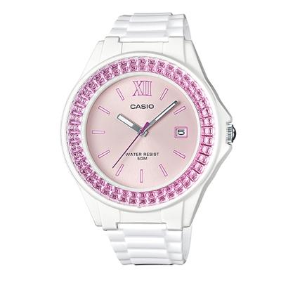 CASIO漾鑽女王簡潔時尚風指針日曆腕錶(LX-500H-4E)白X粉紅框40.6mm