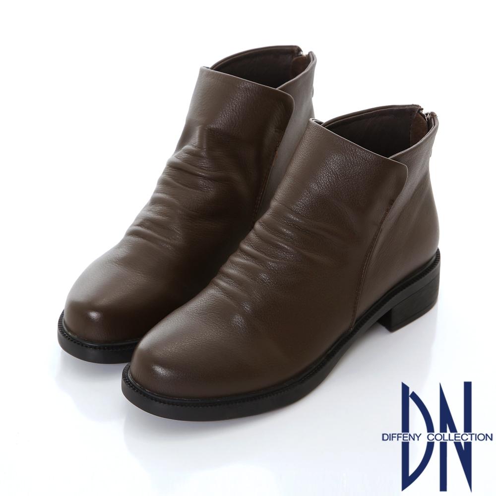 DN 簡約時尚 質感真皮抓皺造型短靴-深咖