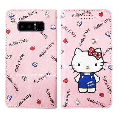 三麗鷗授權 Hello Kitty貓 Samsung Note8 隱形磁力皮套(...