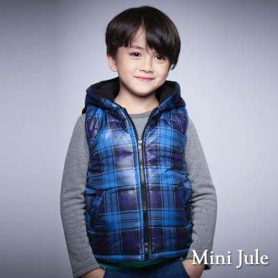 Mini Jule 童裝-鋪棉背心 搖粒絨格紋口袋拉鍊連帽背心(彩藍)