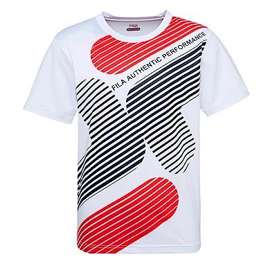 FILA 男抗UV吸濕排汗短袖T恤-白1TES-1611-WT
