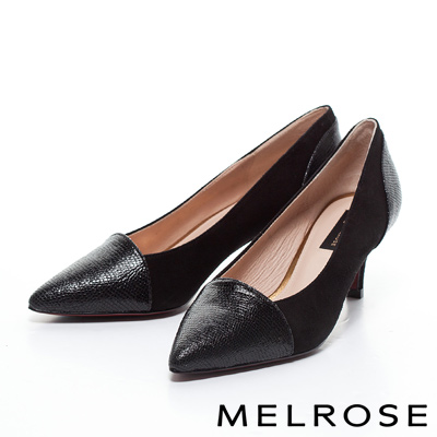 MELROSE-異材質拼接時尚尖頭造型高跟鞋-黑
