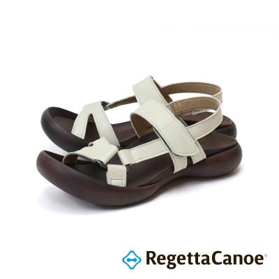 RegettaCanoe-交叉皮革鞋面款樂步鞋-象牙白