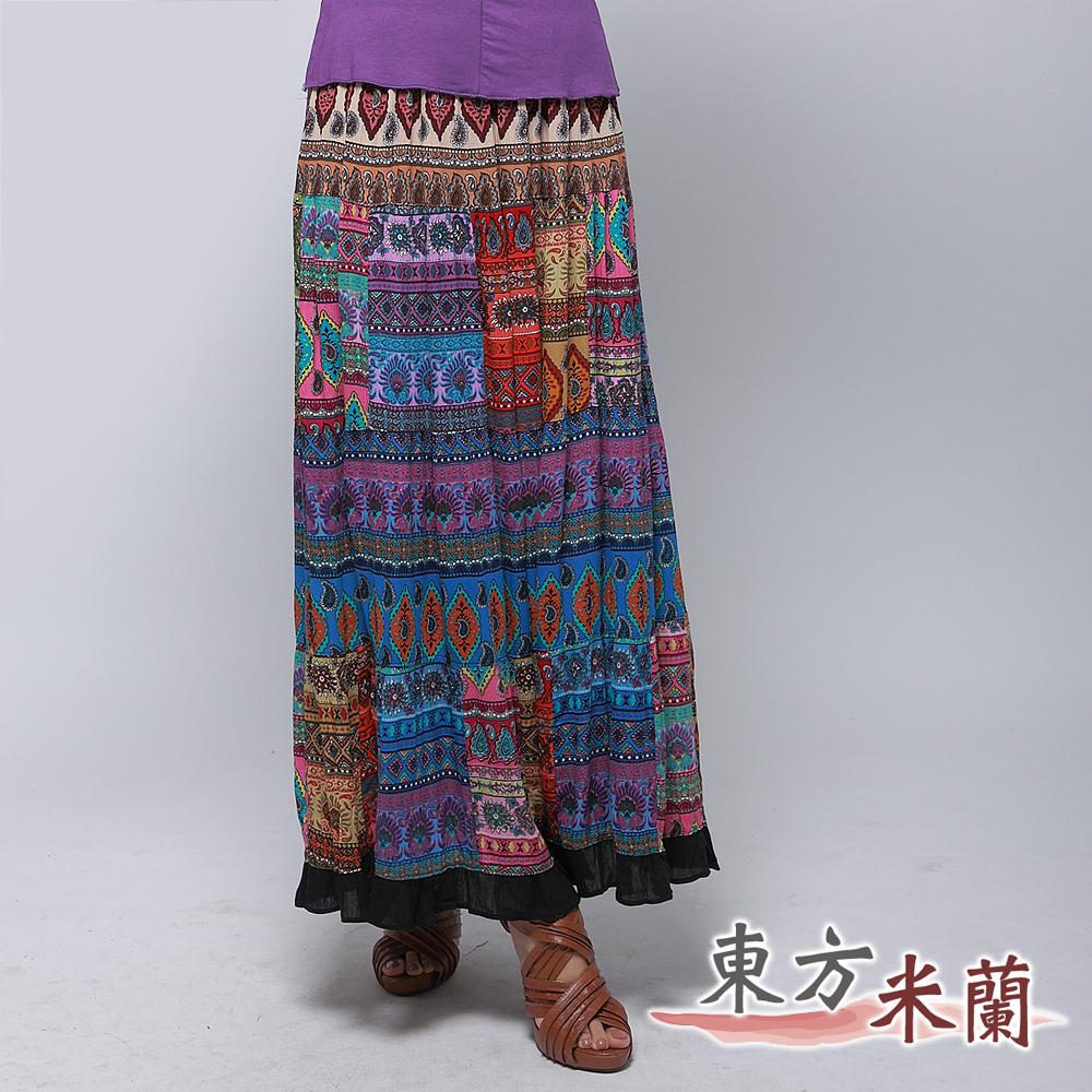 【東方米蘭】熱情民族風‧多彩抓縐拼布長裙