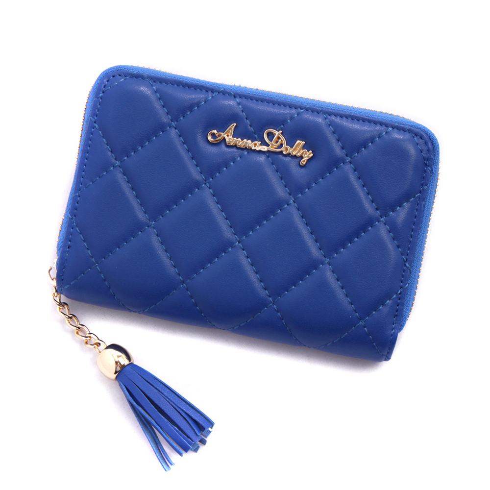 (快速2)ANNA DOLLY 浪漫流蘇Exquisite羊皮菱格中夾(風格藍)
