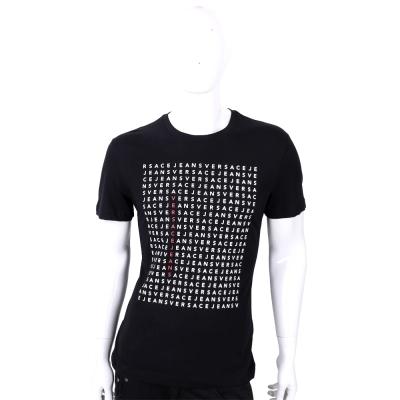 VERSACE 黑色字母排列設計短袖T恤