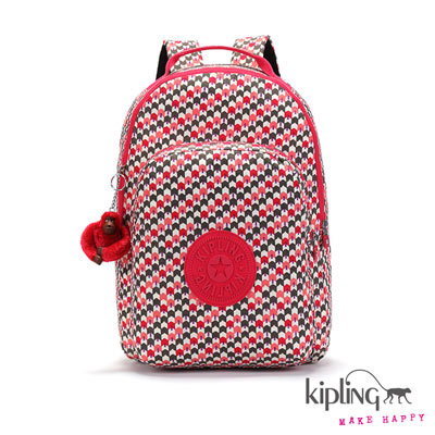 Kipling-後背包-白底粉綠編織