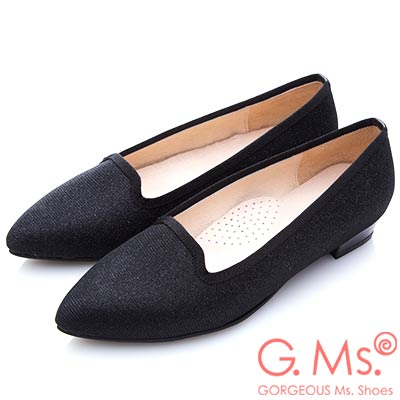 G.Ms. MIT系列-銀紗織布尖頭樂福平底鞋-黑色