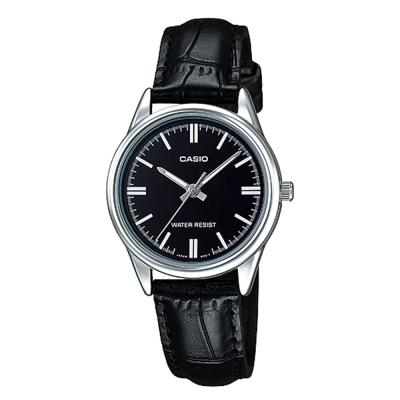 CASIO 復古輕巧指針腕錶~黑色X銀 LTP~V005L~1A  30mm