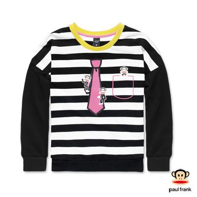 PAUL FRANK-條紋相間領帶配色接袖長T-黑色(女)