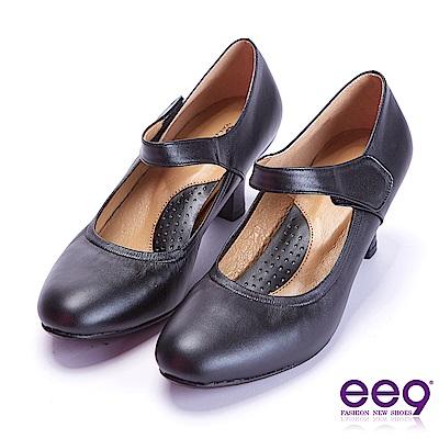 ee9 芯滿益足通勤百搭魔鬼氈飾素面跟鞋 黑色