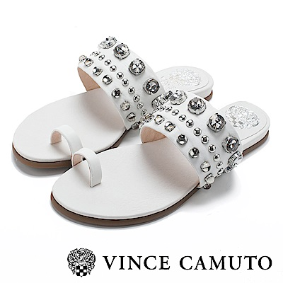 Vince Camuto 小羊皮寬版水鑽平底拖鞋-白色