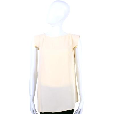 CLASS roberto cavalli 米色金屬裝飾後蝴蝶結短袖上衣