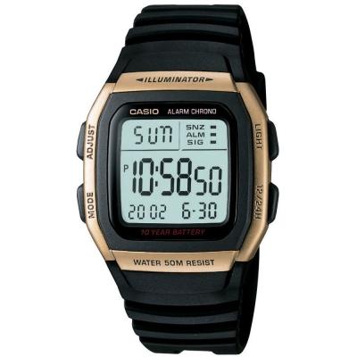 CASIO 樂活休閒運動數位錶(W-96H-9A)-黃框X黑/38mm