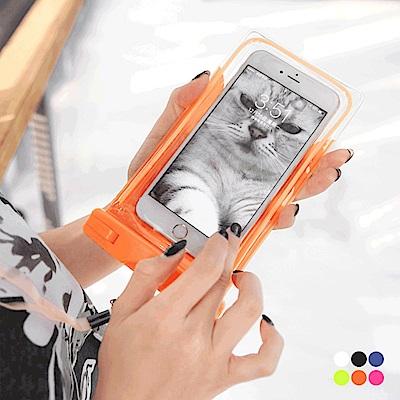 附掛繩/臂帶多色防水可觸控手機袋.6色-OB大尺碼