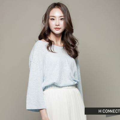 H-CONNECT-韓國品牌-女裝-純色後綁帶七分袖上衣-藍-快