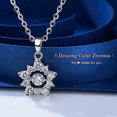 GIUMKA 925純銀項鍊 閃亮花朵 跳舞石系列-共3色
