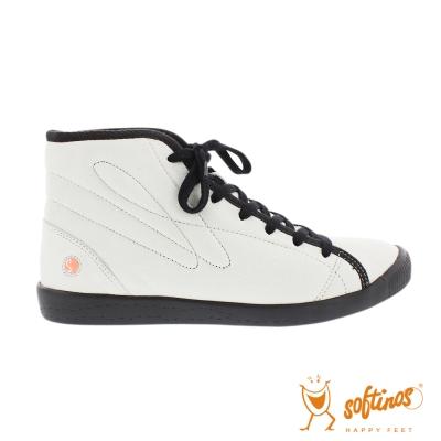 SOFTINOS (女) 超軟牛皮高筒休閒鞋-白黑