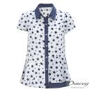 OUWEY歐薇 閃亮星星拼接條紋上衣(白)