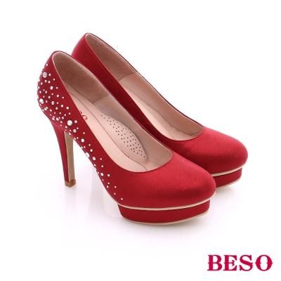 BESO-都會摩登-閃亮鑽飾女神款高跟鞋-紅