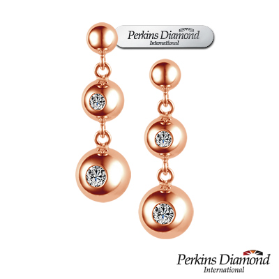 PERKINS 伯金仕 - Anne系列 18K玫瑰金 0.14克拉鑽石耳環