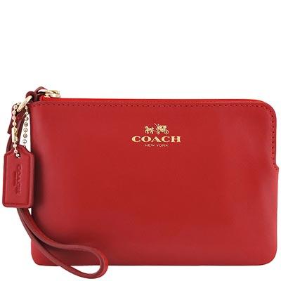 COACH-紅色馬車皮革壓紋手拿包