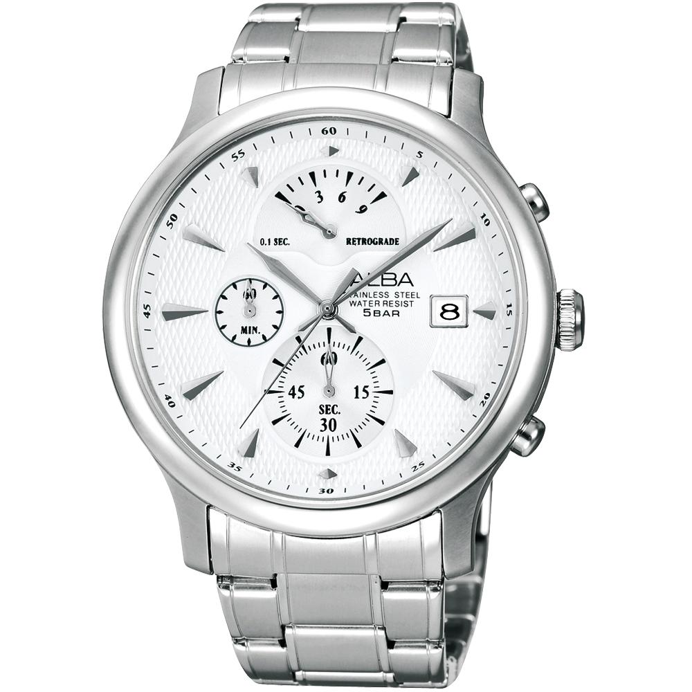 ALBA 宇宙奇蹟逆跳計時腕錶-銀白/42mm
