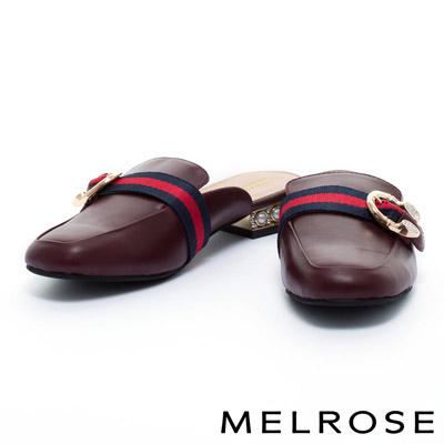 拖鞋-MELROSE-雙色織帶牛皮樂福低跟拖鞋-紅