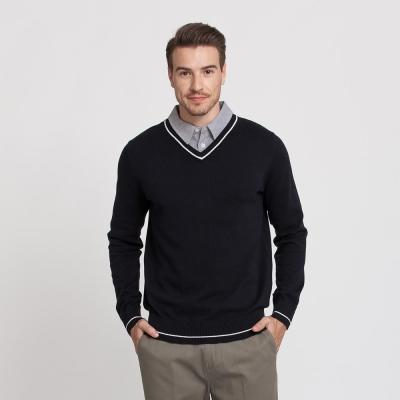 Hang Ten - 男裝 - 假兩件條紋襯衫毛衣 - 藍