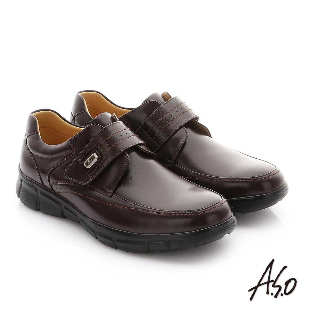 A.S.O 輕旅健步 縫線牛皮魔鬼氈紳士皮鞋 咖啡色