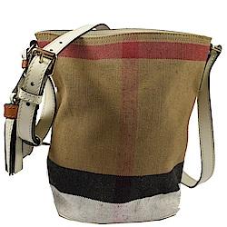 BURBERRY 格紋棉麻系列斜背水桶包(白)