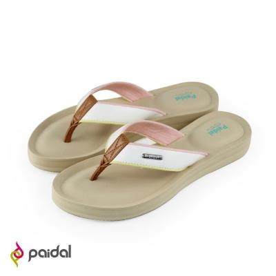 Paidal優雅皮質膨膨氣墊美型夾腳拖鞋-清新白
