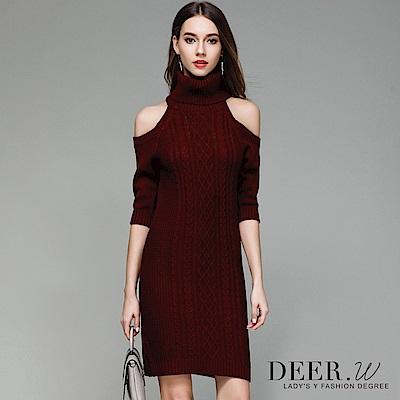 DEER.W 高領露肩織紋連身毛衣裙(共四色)